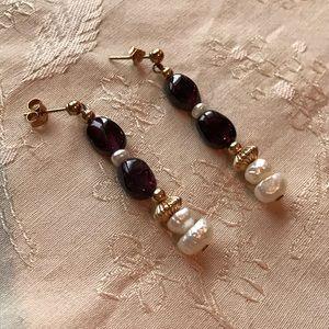 Jewelry - Cultured Pearl & polished Amethyst Dangle Earrings